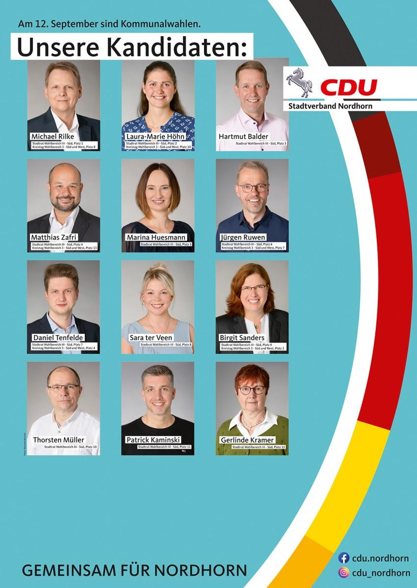 Unsere Kandidatinnen und Kandidaten für den Wahlbereich III – Süd