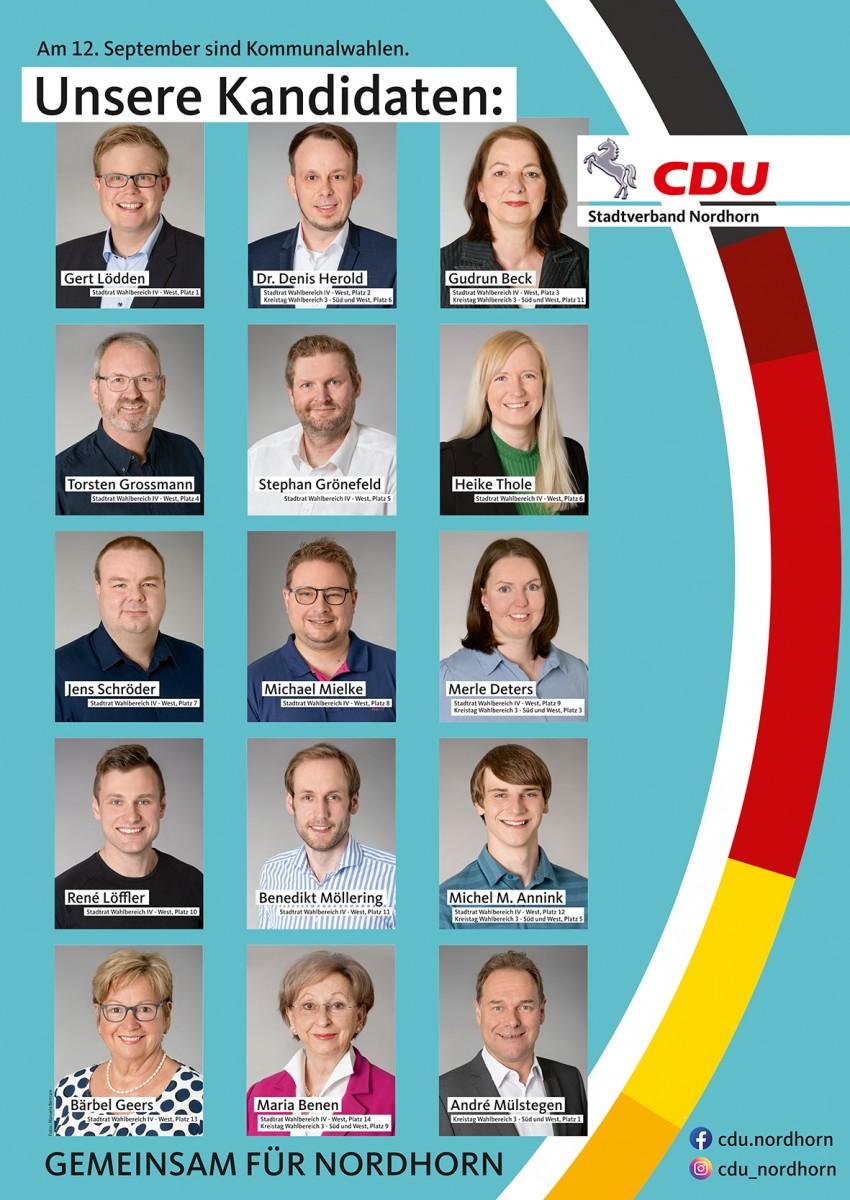 Unsere Kandidatinnen und Kandidaten für den Wahlbereich IV – West